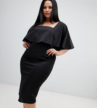 Asos Cape Plunge Midi Bodycon Dress-Black