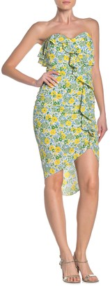 Veronica Beard Johanna Strapless Silk Blend High/Low Dress