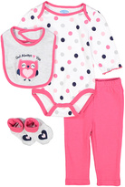Bon Bebe Pink & White Owl Bodysuit Set - Infant