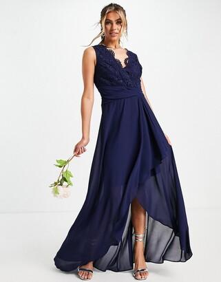 TFNC Bridesmaid maxi dress with chiffon wrap skirt in navy