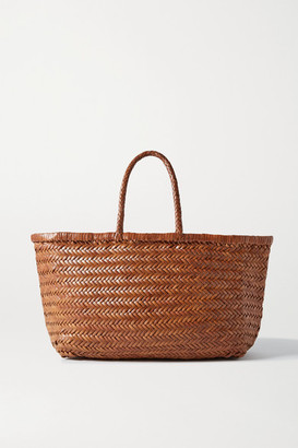 DRAGON DIFFUSION Bamboo Triple Jump Large Woven Leather Tote - Tan