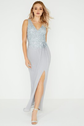Little Mistress Luxury Hazel Hand-Embellished Sequin Sheath Maxi Dress