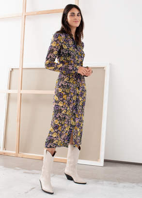And other stories Floral Utility Midi Shirt Dress