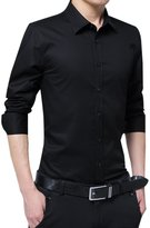 CLJJ7 Men's Cotton Slim Fit Solid Color Dress Shirt (Extra Large, )