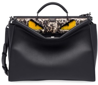 Fendi Peekaboo Fur-Trimmed Leather Briefcase