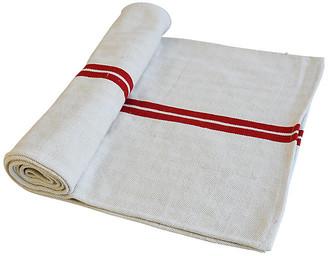 """One Kings Lane Vintage French Grain Sack Table Runner 100"""" Long - white/red/multi"""