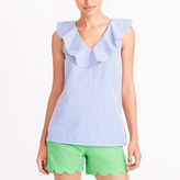J.Crew Factory Striped V-neck ruffle tank top