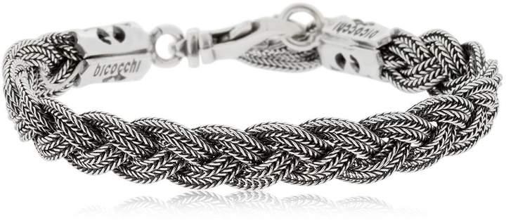 Emanuele Bicocchi Flat Braided Silver Chain Bracelet