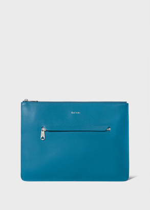 Paul Smith Teal Embossed Leather Document Pouch