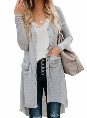 Ribtorsp Womens Long Cardigan Open Front Button Down Knitted Cardigans Sweater Coverup Outerwear with Pockets(XXLarge