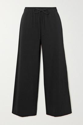 Vince Cropped Cotton-jersey Wide-leg Pants - Black