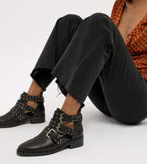 Asos Design Aries Leather Studded Ankle Boots