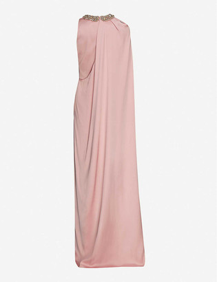 Alexander McQueen Embellished cape-panel silk gown