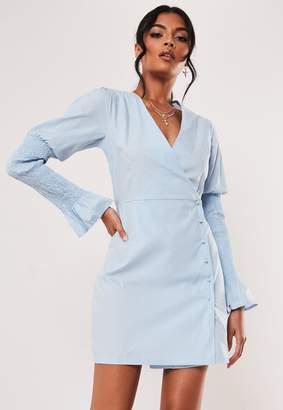 Missguided Blue Ruched Sleeve Poplin Mini Dress