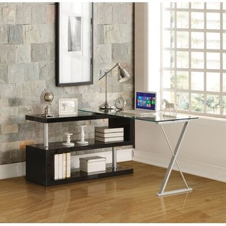 Phalangere Glass Desk Latitude Run Color: Black