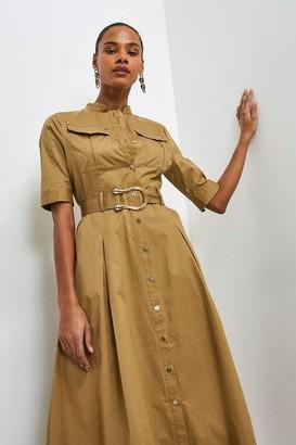 Karen Millen Cotton Sateen Utility Shirt Dress
