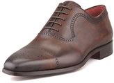 Neiman Marcus Perforated Cap-Toe Oxford, Brown