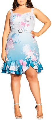 City Chic Tsubaki Floral Belted Body-Con Dress
