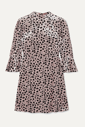 HVN Ashley Leopard-print Velvet Mini Dress - Beige