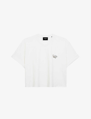 The Kooples Safety pin-embellished cotton-jersey T-shirt