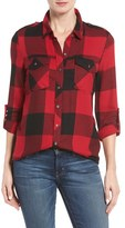 Dex Women's Roll Sleeve Plaid Shirt