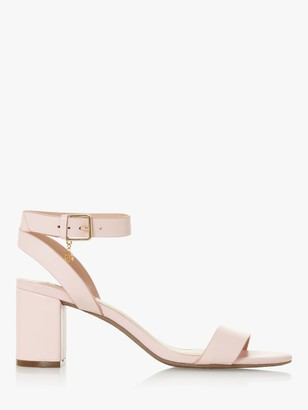 Dune Memee Leather Mid Block Heel Sandals