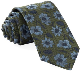 Tie Bar Power Floral Olive Green Tie