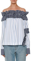 MSGM Off-the-Shoulder Striped Shirting Top, Blue