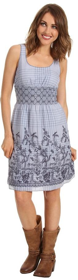 Stetson Windowpane Plaid Sleeveless Dress (Blue) - Apparel