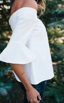 Ily Couture White Flutter Sleeve Off the Shoulder Top