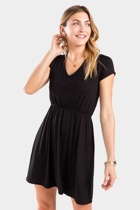 francesca's Jessica Surplice Back Dress - Black