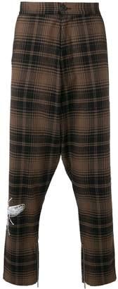 Marcelo Burlon County of Milan drop-crotch checked trousers