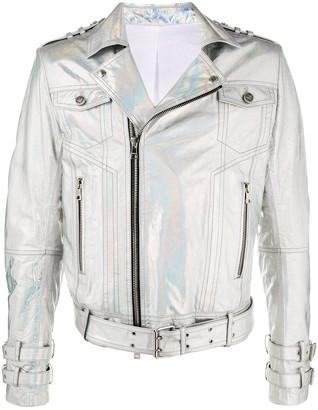 Balmain Metallic Hologram Biker Jacket