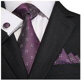 Landisun Mens Silk Neck Tie Set Rose Floral Pattern