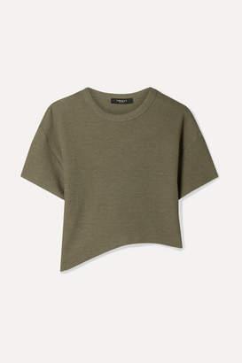 TWENTY Montréal - Everest Cropped Asymmetric Waffle-knit Jersey T-shirt - Army green