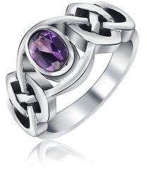 Bling Jewelry Amethyst Purple Celtic Knot Triquetra Ring 1MM Band Sterling Silver