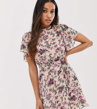Vila Petite floral mini dress with angel sleeve-Multi