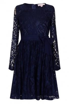 Little MisDress Navy Floral Lace Bow Dress
