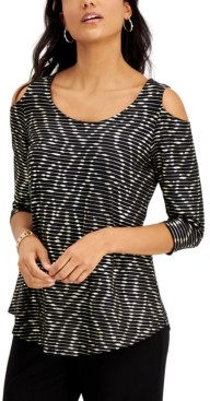 JM Collection Striped Cold-Shoulder Top, Created for Macy's