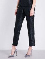 St. John Avani Rose straight jacquard trousers