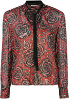 RED Valentino collar applique printed top - women - Silk/Polyester/Spandex/Elastane - 38