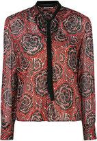 RED Valentino collar applique printed top - women - Silk/Polyester/Spandex/Elastane - 40
