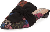 Tahari Pandora Embroidered Mule Flat with Suede Bow