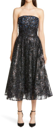 Pamella Roland Embellished Strapless Fit & Flare Midi Dress