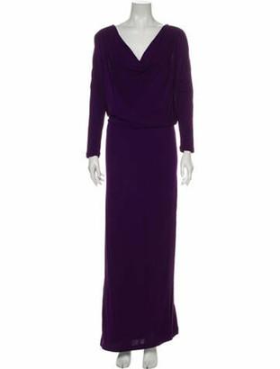Halston Cowl Neck Long Dress Purple