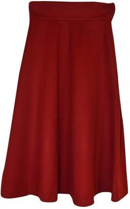 Emmanuelle Khanh Burgundy Wool Skirt for Women Vintage
