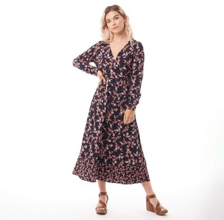 Only You Womens Venera Long Sleeve Mid Calf Woven Dress Night Sky