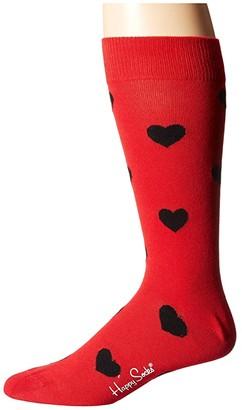Happy Socks Heart Sock (Red/Black) Men's Crew Cut Socks Shoes