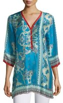 Johnny Was Bessy Button-Front Easy Tunic, Multi Colors