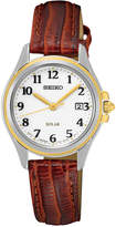 Seiko Women's Solar Dress Brown Leather Strap Watch 27mm SUT252
